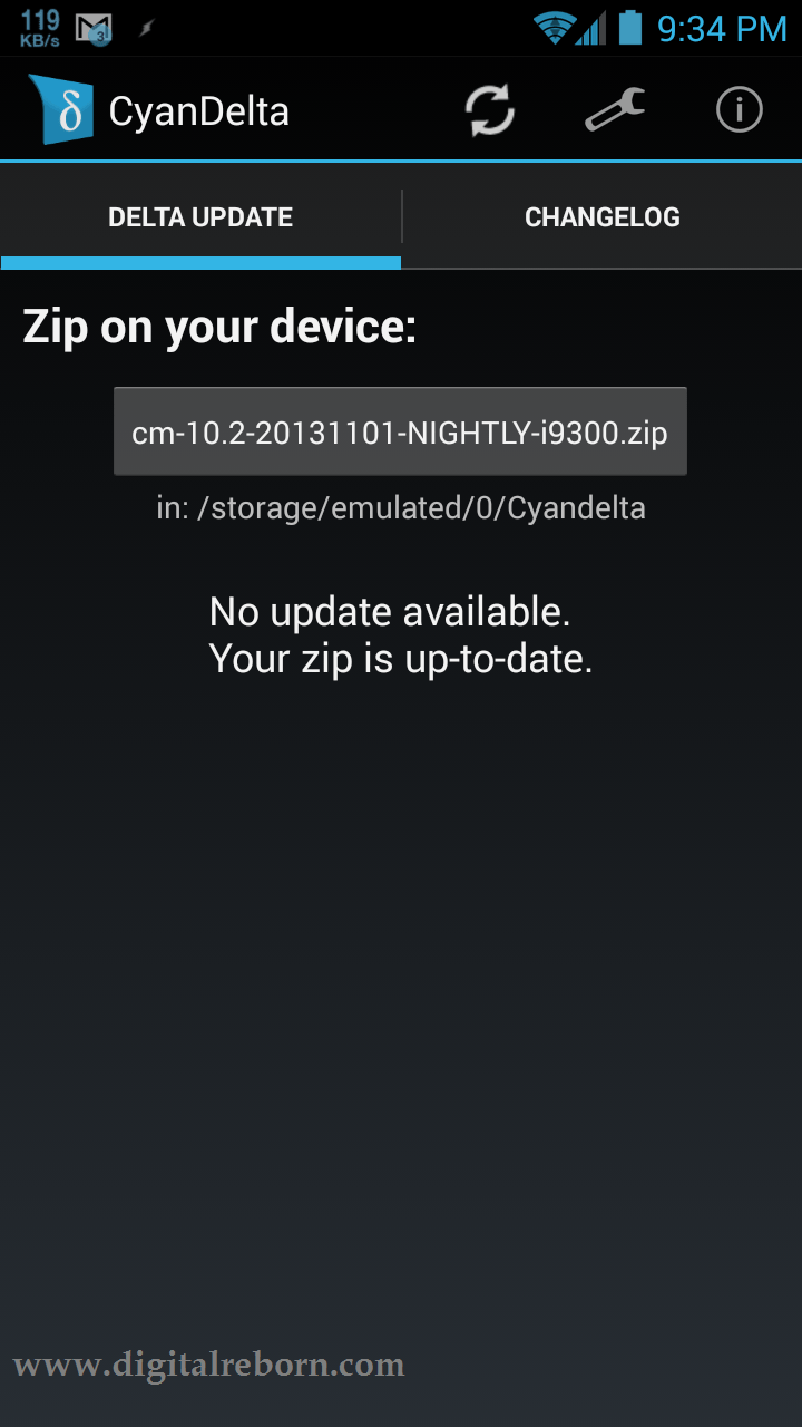 CyanDelta Updater App main menu