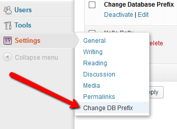 Change DB settings