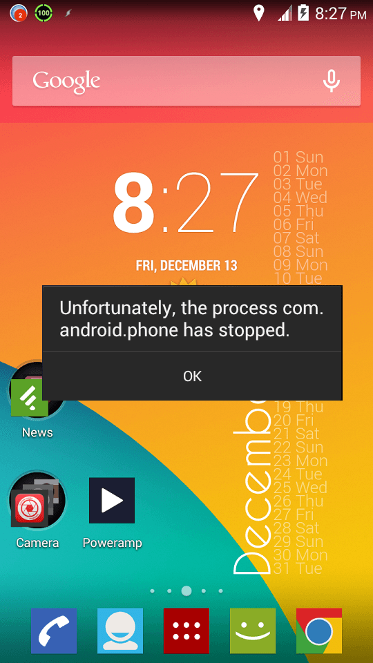 Phone stopped error