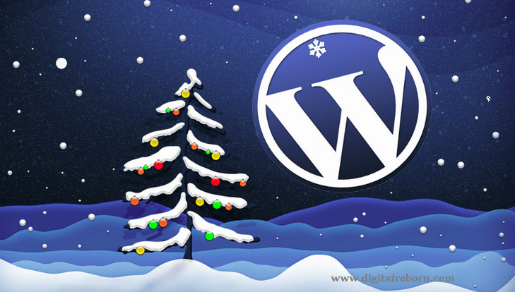 snow falling effect wordpress logo
