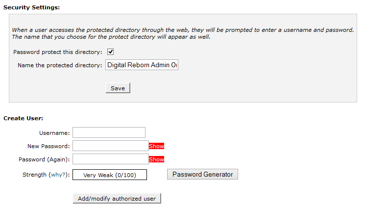 Add user to password protected area