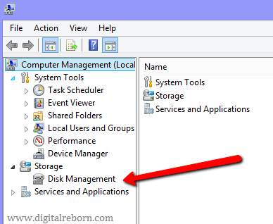 Disk management tab