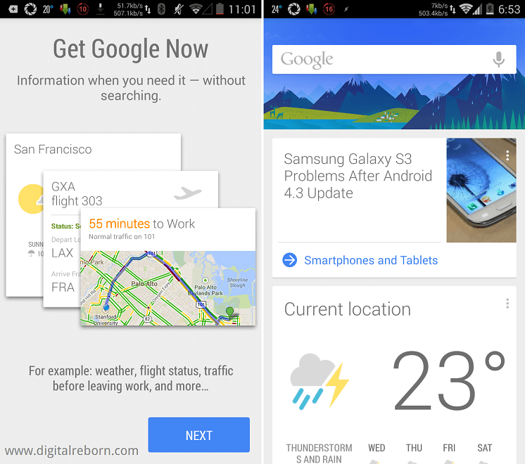 Google Now Cards on phone