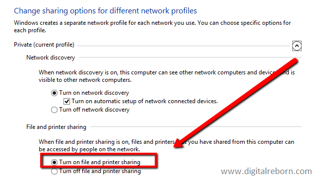 Enable Files and Printer Sharing